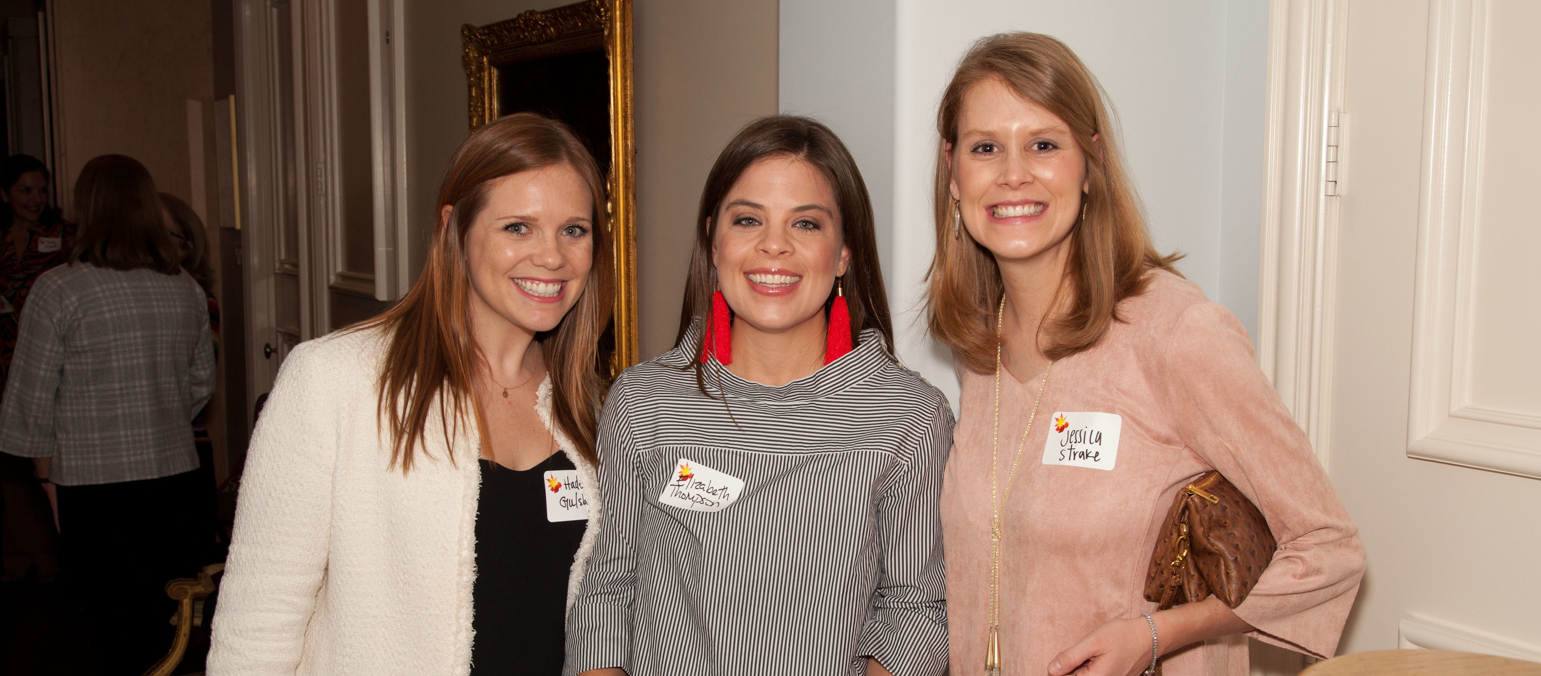 Haden Gulsby, Elizabeth Walsh, and Jessica Strake are all smiles at the Fall Feast at Deanne White's lovely home!