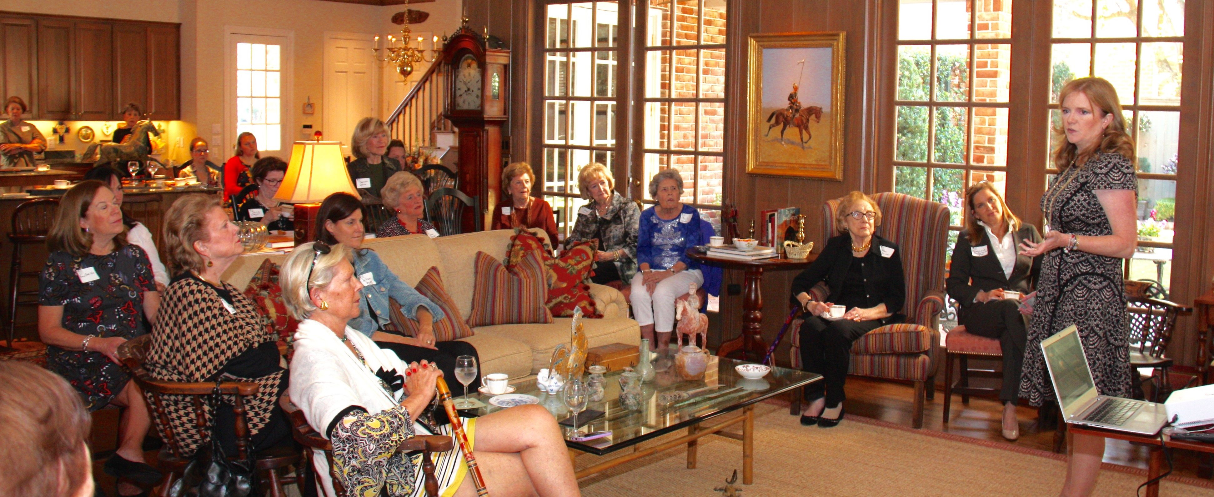 Alecia Lawyer, Founder & CEO of ROCO, speaks to Thetas at the October Coffee at Cheri Fossler's home.