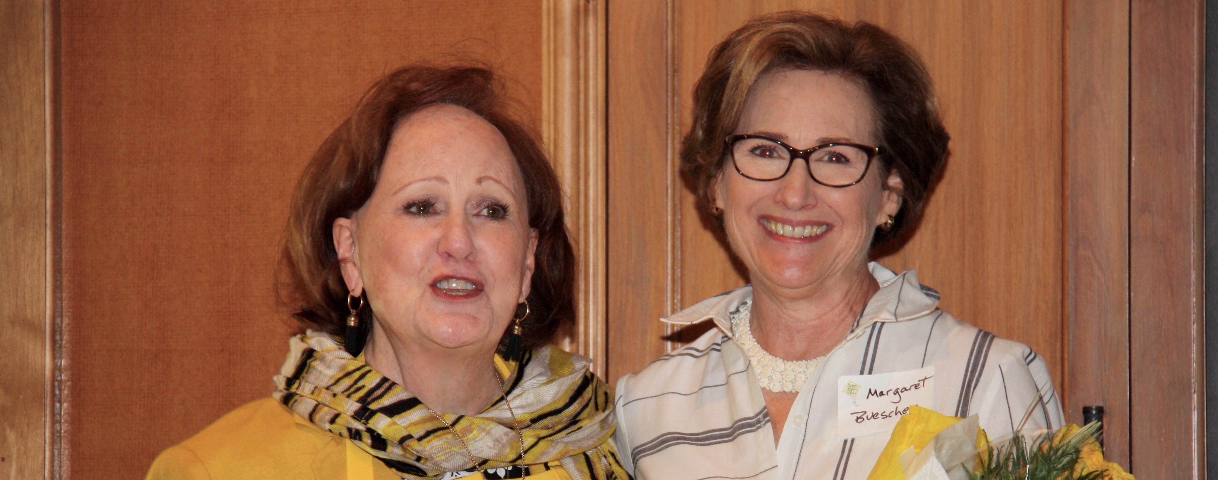 Incoming President Deborah Dunkum thanks Outgoing President Margaret Buescher for her contributions to our chapter.