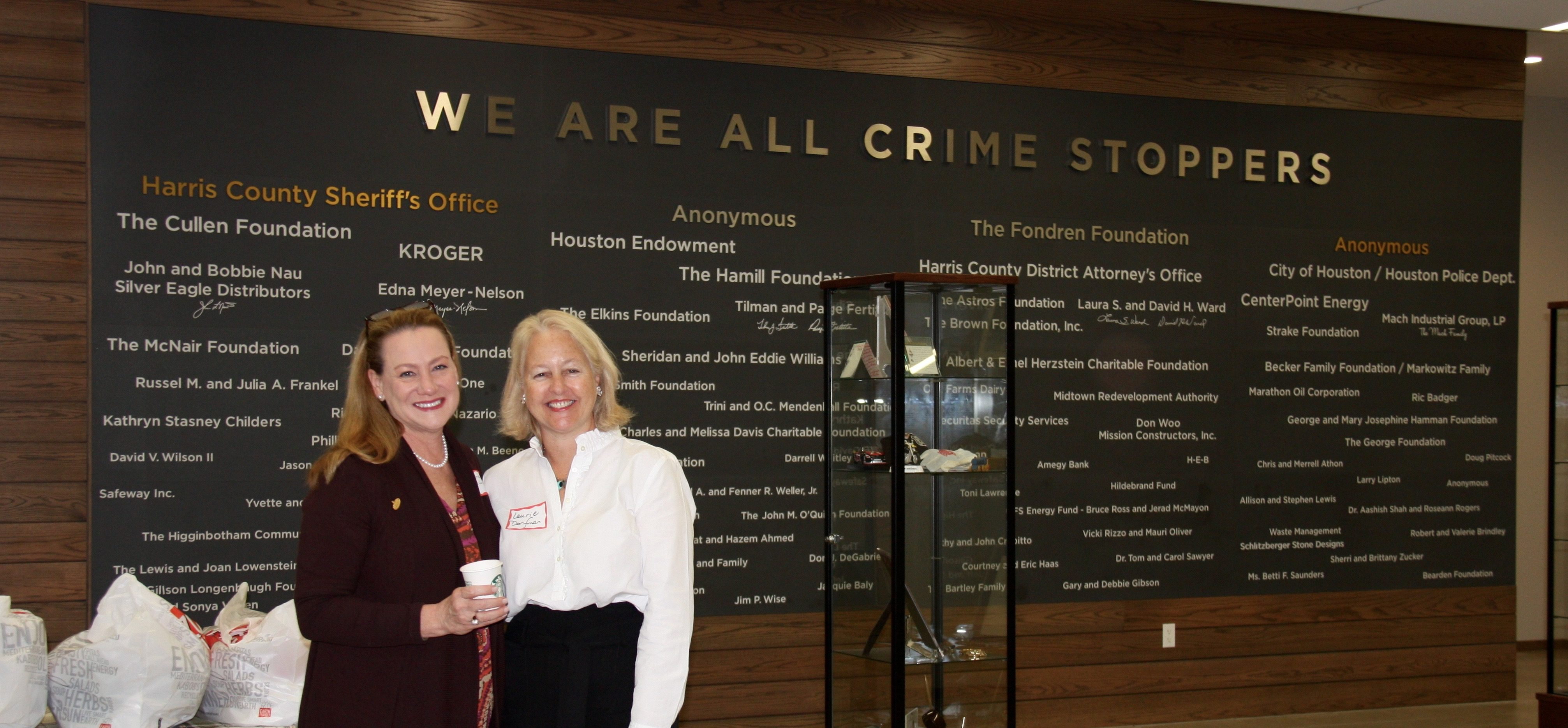 Rhonda Barclay and Laurie Dorfman at the October Crime Stoppers Meeting..