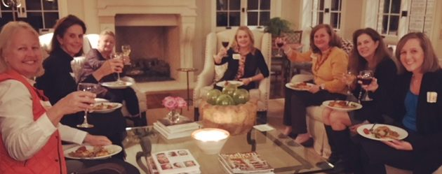 Thetas enjoy Christina O'Shell's lovely home and the delicious food by Jonathan the Rub at the Fall Feast.